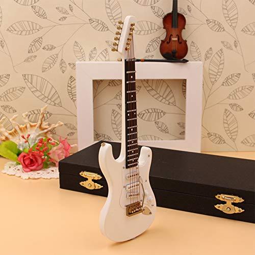 Almabner Guitarra Miniatura, Decoración del Hogar Artesanía Madera Instrumentos Musicales Guitarra, Mini Rock Guitarra Eléctrica Modelo de Madera Regalo Coleccionable con Estuche