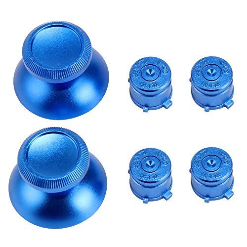 WiMas 2 STKS Aluminium Duimstokken Grip + 4 STKS Metalen Kogelknoppen, Vervangende Controller Knop Hoeden voor PS3 PS4 Controller Blauw