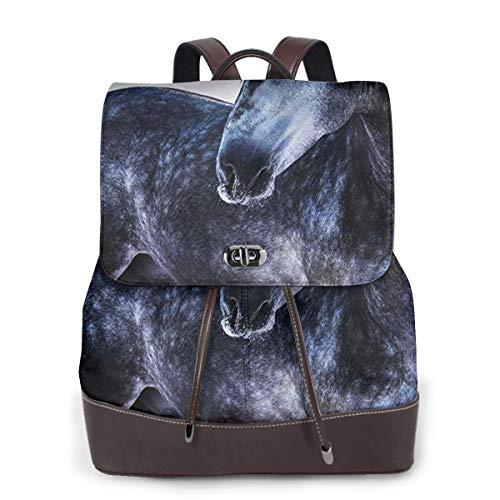 SGSKJ Rucksack Damen Graues andalusisches Pferd, Leder Rucksack Damen 13 Inch Laptop Rucksack Frauen Leder Schultasche Casual Daypack Schulrucksäcke Tasche Schulranzen
