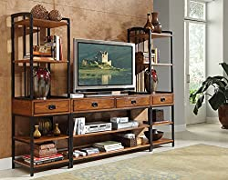 commercial Modern Craftsman Entertainment Center 3 Piece Oak Aged Home Style tower tv stands