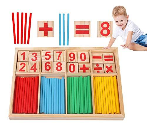 Sunshine smile Montessori Mathe Spielzeug,mathematisches Spielzeug Holz,Mathe Spielzeug Rechenstäbchen,Zahlenlernspiel, Pädagogisches Mathe-Spielzeug für Kinder 3 4 5