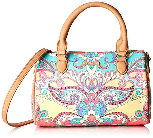 Desigual Damen Bag Grand Valkiria Bowling Med Women Henkeltasche, Orange (Coral), 13.7x18x27 cm