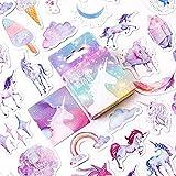 WIKI FIESTA - Mini pegatinas de Unicornio, Autoadhesivos para Bicicleta de Niña, Stickers de arco cielo, Pegatinas Kawaii, Pegatinas de unicornio infantil, Pegatinas de scrapbooking (46 unidades)