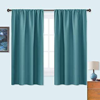 NICETOWN Window Curtains Blackout Drapes - Thermal Insulated Solid Rod Pocket Blackout Curtains/Draperies for Living Room (Sea Teal, 1 Pair,42 by 63-Inch)