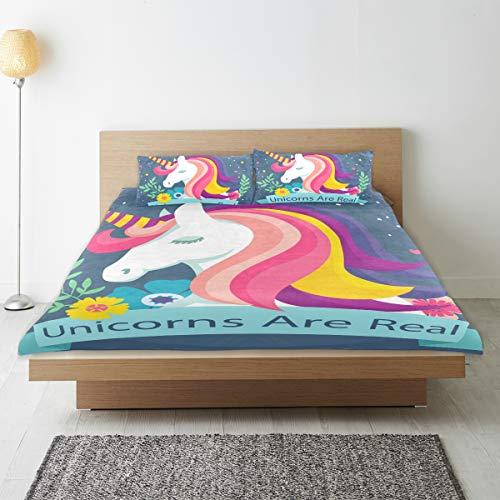 DEZIRO - Juego de funda de edredón para adolescentes, diseño de unicornio son de algodón puro natural, tamaño individual con 2 fundas de almohada para decoración de dormitorio de niños, juego de cama de 3 piezas