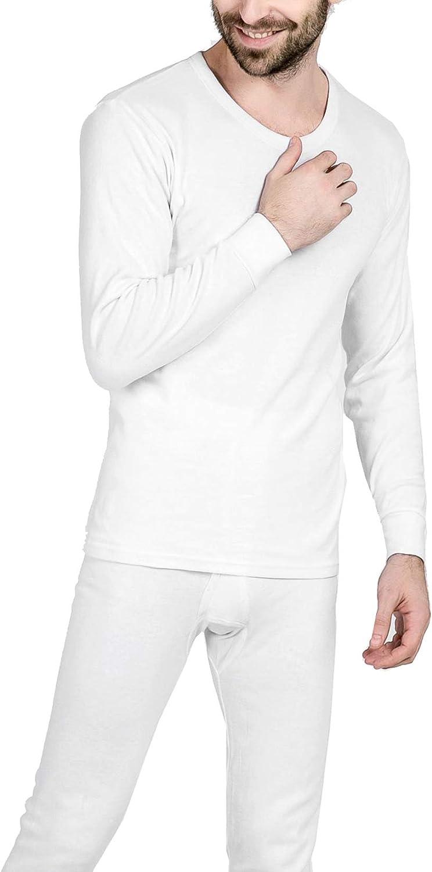 Seaoeey Cotton Men's Thermal Underwear Mid Weight Wicking Top & Bottom Long John Set