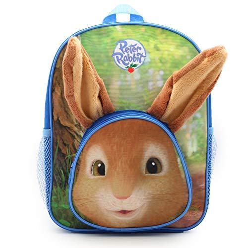 Peter Rabbit Mochila escolar para niños y niñas con orejas de conejo peludas