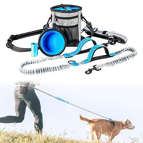 Handfreie Hundeleinen zum Laufen, Joggen, einziehbare Bungee-Leine mit zwei Griffen, reflektierenden Nähten, Poop Bag Dispenser Pouch und verstellbarem Taillengürtel für bis zu 150 lbs große Hunde