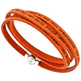 Sabrina Silver Italian Full Grain 3 Wrap Orange Leather Lords Prayer Bracelet Stainless Steel Magnetic Clasp 22.5 Inch