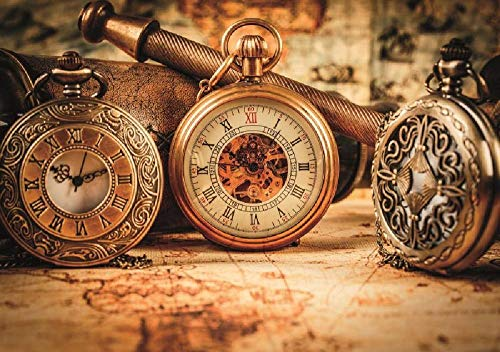 N/A Nova Relojes Antiguos de 1000 Piezas Bodegón Kahverengi Puzzle 46004 para Adultos Relojes Antiguos con cordón de cartón de 1000 Piezas