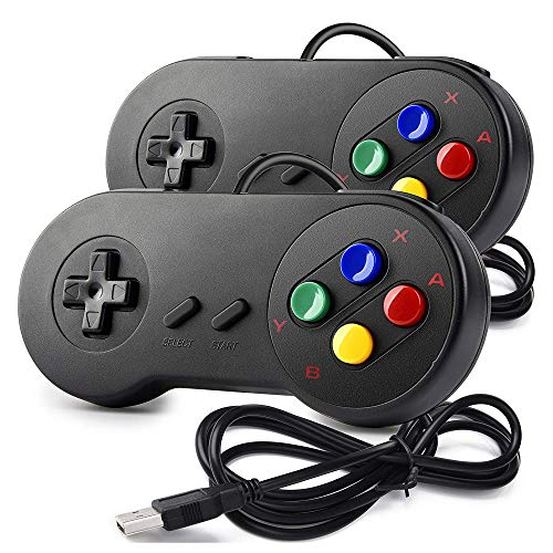 miadore 2 x SNES USB Controller GamePad Joypad SNES Controller Joystick für Windows PC Mac Raspberry Pi ( Multi-Color Keys)