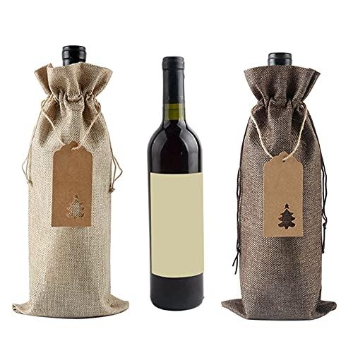 ZSDFW 12 fundas para botellas de vino de Navidad con etiqueta, protector de botella de vino de Navidad, botella de arpillera, para decoración de mesa del hogar, regalo de Navidad, color marrón