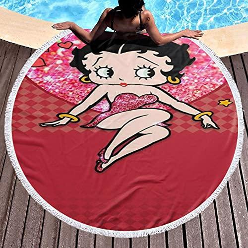 Betty Boop - Toalla de playa redonda gruesa de microfibra circular grande de rizo para playa, rondie, tapete de picnic con flecos para mujeres, 150 cm