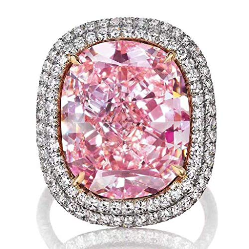 Allywit Women's Pink CZ Crystal Engagement Rings Best Promise Rings Anniversary Wedding Jewelry Bands for Lady (8, Pink)