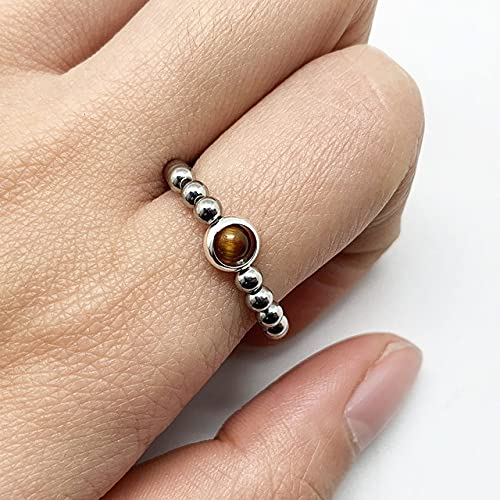 Fashion Gold Silver Color Beads Rings For Women Handmade Natural Stone Wedding Party Rings Stretchy Gift Price