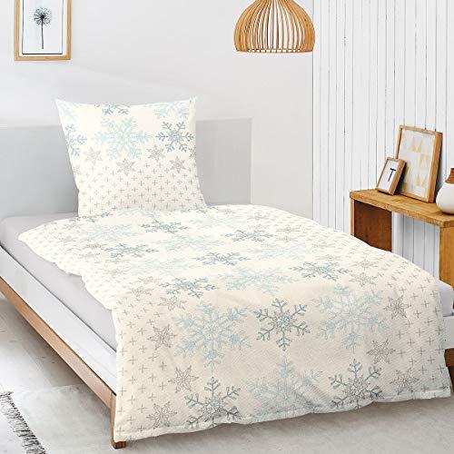 Irisette Davos 8007-20 - Biancheria da letto in flanella, 155 x 200 cm + 1 federa 80 x 80 cm