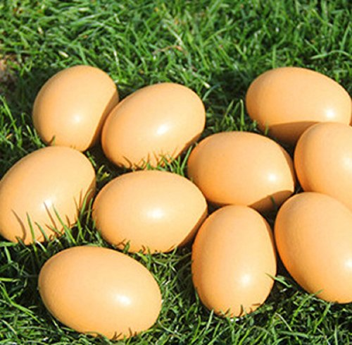 YunKo 6Pcs Wooden Faux Fake Nest Eggs Easter Eggs Get hens to Lay Eggs Kitchen Game Food Toy - Log Color