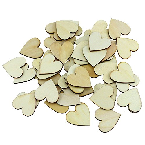 Fyess 150PCS 4CM Wooden Blank Love Hearts Crafts Decor for Arts & Crafts Projects, Ornaments, Wedding Table Scatter Decoration.