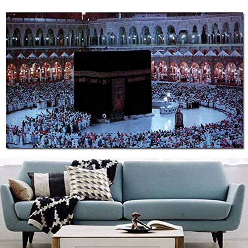 ganlanshu Rahmenlose Malerei Islamische Mekka-Drucke Heilige Landschaft Ölgemälde Pilgergebet Religiöse ArchitekturCGQ7244 30X60cm