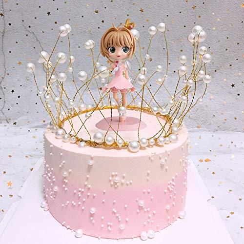 Babioms 2 Piezas Decoración de Tartas, Adorno De Torta De Cumpleaños, Decoración de princesa+Corona de perlas, para diferentes fiestas de cumpleaños, Niño
