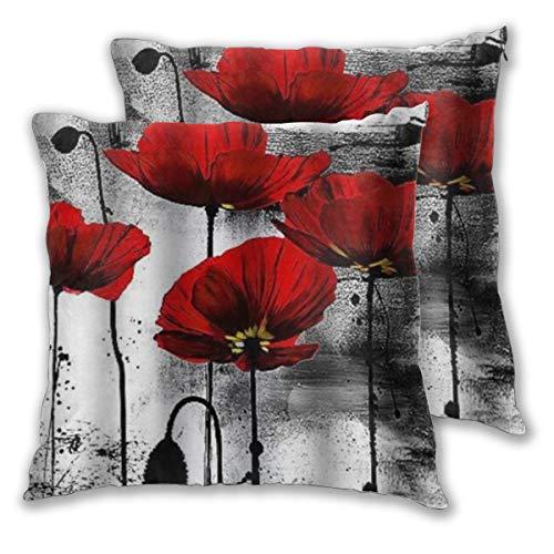 WINCAN Juego de 2 Decorativo Funda de Cojín Pintura Flores Rojas Negro Acuarela Funda de Almohada Cuadrado para Sofá Cama Decoración para Hogar,60x60cm
