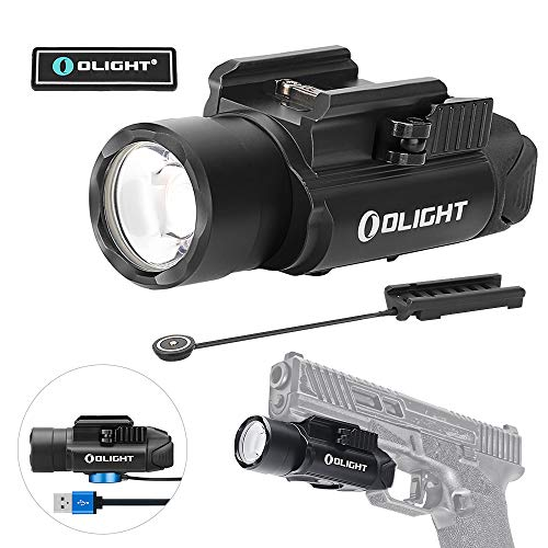 Olight PL-PRO Valkyrie 1500 Lumens USB Rechargeable Weaponlight with Cree XHP 35 HI NW LED, Compact Gunlight Powered by Built in Battery with MCC Included, Max. Throw 280 Meters Waterproof IPX6 with RPL-7 Remote Switch