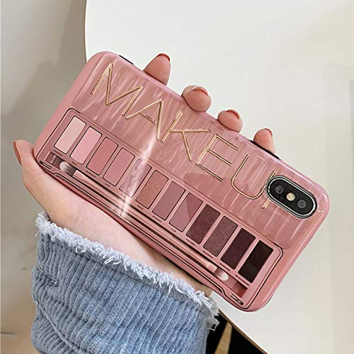 VCX make-up oogschaduw-palet telefooncase voor iPhone 11Pro Max XR XS Max Glossy soft-silicone cover voor iPhone 11 Pro XR 7 8 6 6S Plus, For iphone 11Pro Max, roze