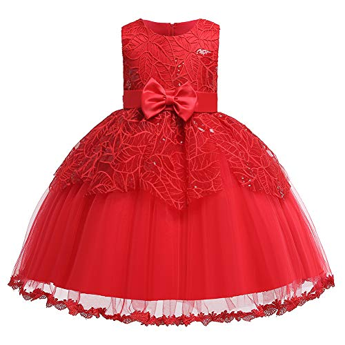 Girls Wedding Pageant Party Ruffles Dresses Baby Ball Gown Red Lace Dress with Bowknot(Red120)