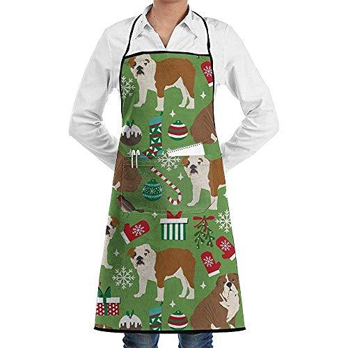 Wthesunshin Engels Bulldog Kerstmis Verstelbaar Schort met Zakken -Restaurant en Home Keuken Schort - Nek Band- Extra Lange Ties - Sterk Zwart