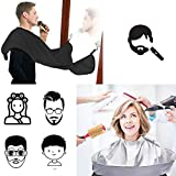 Haircut Cape and Beard Apron 2 in 1, Hairdressing Cloak Catcher Grooming for Adults/Kids, Beard Bib for Shaving and Trimming with 2 Suction Cups, Non-Stick Waterproof Salon Barber Home Stylists Kit