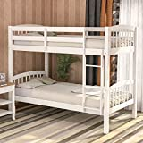 Harper&Bright Designs Bunk Bed Solid Wood Twin Over Twin Bunk Beds with Ladder (White..)