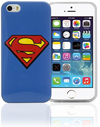 Phonix IP5WB2 - Carcasa y película protectora para Apple iPhone 5 y 5s, diseño DC Comics Superman Logo