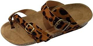 Gladiator Sandals for Women,WEUIE Summer Beach Shoes Flip-Flops Comfort Buckled Slip on Sandal Casual Flat Slides
