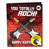 "Interactive Musical Birthday Card - Strum The Guitar to Play ""Smoke on The Water"" - Giant Happy Birthday Card for Him w/Advanced Technology – Big Greeting Cards for Music Lover - 8.25 x 11.7'"