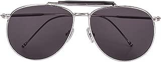 QH Retro Big Face Polarized Metal Pilot Male Lady Round Face Driving Sunglasses, Outdoor (Color : Black)