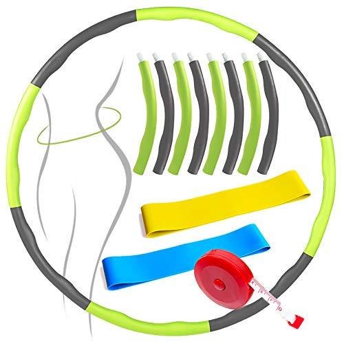 SPROUTER Hula Hula Aro desmontable con 8 secciones y espuma de empalme, Fitness Hula, Fitness Hoop para adultos y niños, con banda de resistencia y cinta métrica, color verde y gris (95 cm)