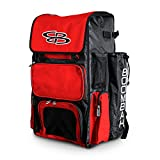 Boombah Superpack Bat Pack -Backpack Version (no Wheels) - Holds up to 4 Bats - Black/Red - for Baseball or Softball