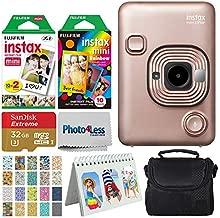 Fujifilm Instax Mini LiPlay Hybrid Instant Camera (Blush Gold) + Instant Film (20 Shots) + Rainbow Film (10 Shots) + 32GB microSDHC + Case + Scrapbooking Album + 20 Sticker Frames Travel Package