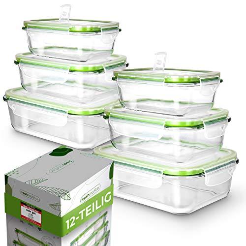 Fresh Master Frischhaltedose Glas Set - Testurteil: SEHR GUT - 100% auslaufsichere + luftdichte Vorratsdosen mit Deckel I Vorratsdosen Glas Meal Prep Boxen Glas Aufbewahrungsbox (12 teilig)
