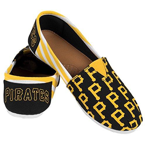 MLB Pittsburgh Pirates Women's Canvas Stripe Shoes, X-Large (10), Black