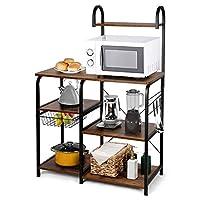 amzdeal scaffale da cucina, supporto multifunzionale in legno e ferro, scaffale per microonde, 90x40x132cm, ripiano marrone a 4 livelli con ganci a s e scolapiatti