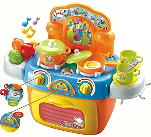 FUNERICA Compact Toy Kitchen Set - Toy Stove Top and Play Oven with Lights and Sounds - Play Food - Toy Pots - Play Kitchen Utensils - A Quality Small Toddler Toy Kitchen Playset