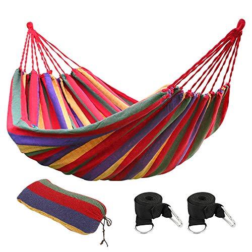 You's Auto Outdoor Garten Baumwolle Hängematte Doppel-Hängematte 270 x 150 cm bis 200 kg mit 2 Karabinern und 2 Breitbändern für Reisen und Garten