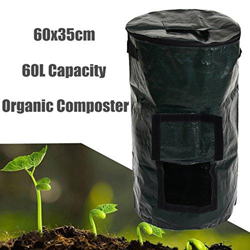 Find Discount Zaluan 60L Garden Compost Bag Kitchen Yard Compost Bag Organic Waste Converter Portabl...