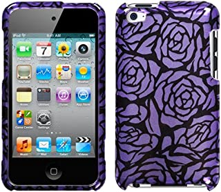 Hard Plastic Snap on Cover Fits Apple iPod Touch 4 (4th Generation) 2D Silver Splash Rose Purple/Black