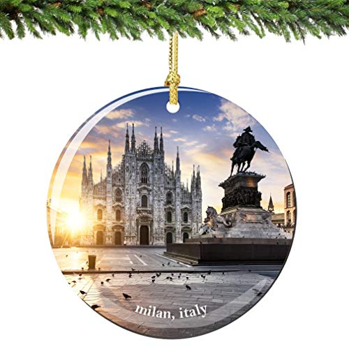 Milan Italy Christmas Ornament Porcelain 2.75 Inch Double Sided Italian Milan Christmas Ornaments
