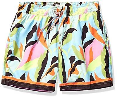 "Maaji Men's Printed Elastic Waist Mid Length Swimsuit Trunks 6"" Inseam, Neon Leaves Navy Blue Flower, Medium"