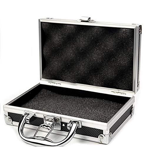 JoyFan Mini Aluminium Flightcase Werkzeugkasten Tragbare Kleine Aluminium Aufbewahrungskoffer für Handwerker Reise Tragen (Schwarz, 215 * 215 * 65mm)