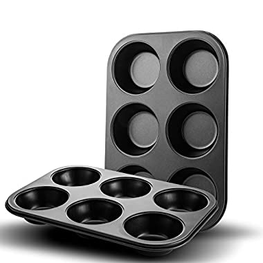 Auxcuiso Muffin Pan Nonstick 6-Cups Bakeware Set of 2 Packs Heat Resistant Black