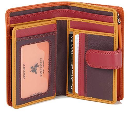 Visconti Twofold Leder Damen Geldbörse Rainbow Mehrfarbig Purse(RB51) RFID (Orange multi)
